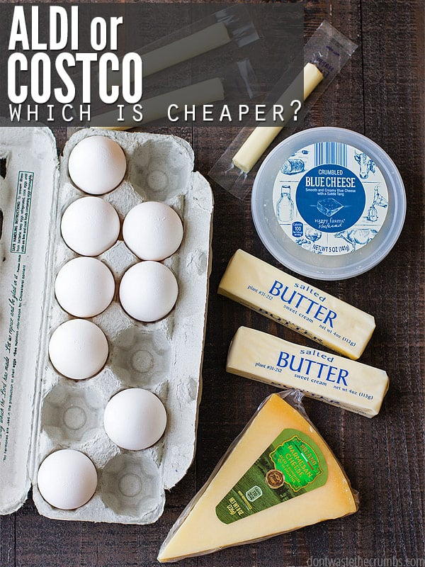 I wondered which is cheaper Costco or ALDI, and spent a day comparing 20+ items side by side. You'll be shocked to see which store ended up costing more! I know my monthly shopping routine is now forever changed! :: DontWastetheCrumbs.com