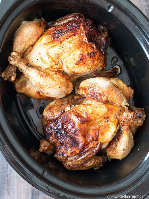 Skip the oven this summer and cook chicken in a slow cooker instead. Slow cooker chicken always comes out tender and juicy, and the kitchen stays cool! :: DontWastetheCrumbs.com