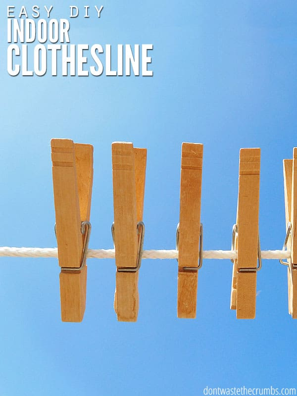 Reap the rewards of line drying your clothes inside the house with an indoor clothesline! If you're restricted outside with space, weather or HOA rules, this post is for you. I love the creative ideas of places to hang your clothes, and the tips on what hardware to use is priceless! :: DontWastetheCrumbs.com