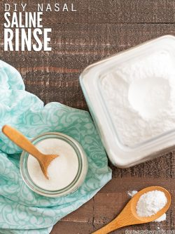 Easy recipe for a nasal saline solution with 3 simple ingredients. Learn how to use homemade nasal decongestant, plus tips for using saline for allergies. :: DontWastetheCrumbs.com