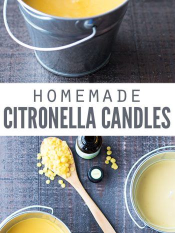 "Two images of homemade citronella candles in tin buckets, and ingredients for candles like beeswax pastilles and essential oil. Text overlay says, ""Homemade Citronella Candles""."