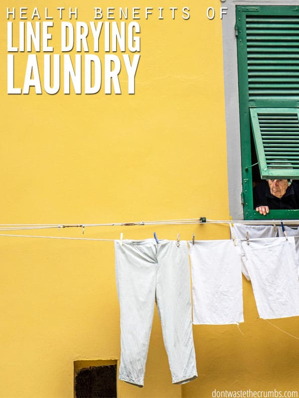 The benefits of line drying laundry are bigger than just saving money - it's good for your health too! And the fact that LINT is really tiny pieces of your CLOTHES is no wonder why line drying laundry is great for your clothes too! :: DontWastetheCrumbs.com