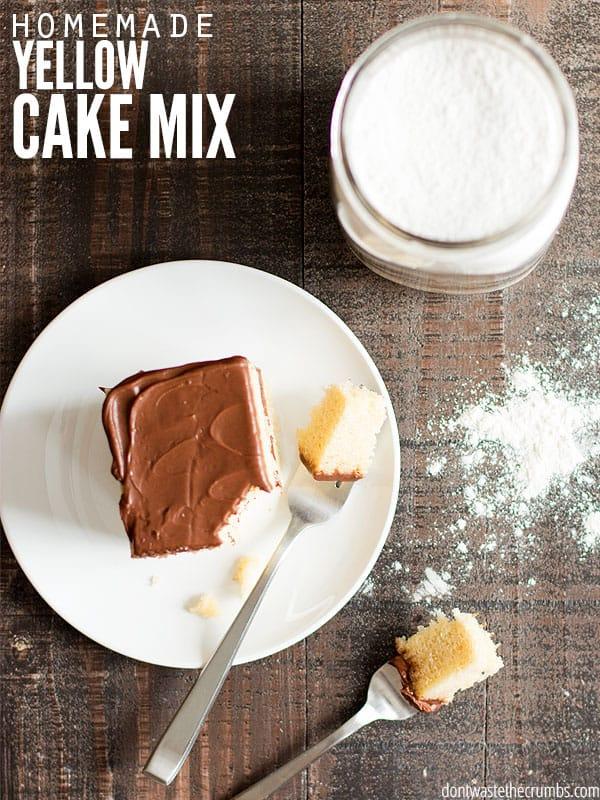 This homemade yellow cake mix tastes better than any store-bought mix! Using real food ingredients from the pantry, making this recipe from scratch is easy! :: DontWastetheCrumbs.com
