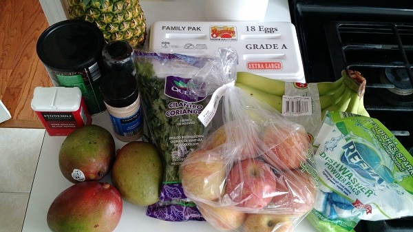 Our real food monthly food budget is just $330 for my family of 4. We don't eat junk and making most items from scratch. Come see how we stretch our monthly food budget to make it work! :: DontWastetheCrumbs.com