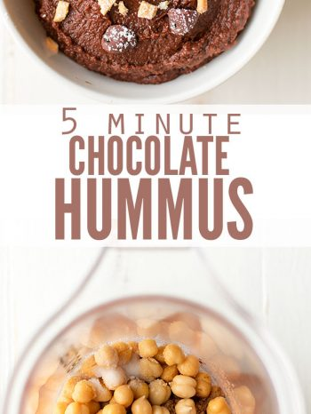 "Two images, one with chocolate hummus in a bowl, topped with chocolate chips, the second image is a blender filled with ingredients for chocolate hummus (chickpeas, cocoa powder, etc.). Text overlay, ""5 Minute Chocolate Hummus""."