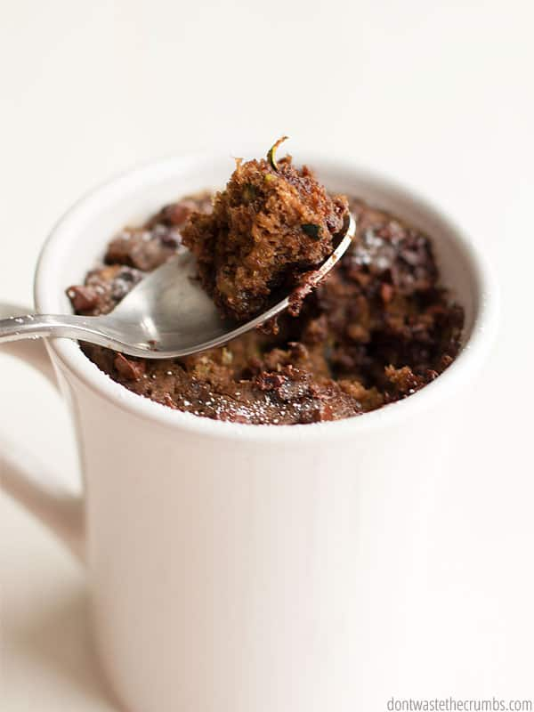 Skip zucchini bread and make death by chocolate zucchini mug cake instead. Naturally sweetened, it's the perfect way to merge healthy with indulgent! :: DontWastetheCrumbs.com