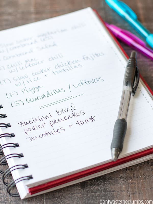 A meal plan in the making! A small notebook with color coded pens is a great way to organize meal Ideas weekly or monthly.
