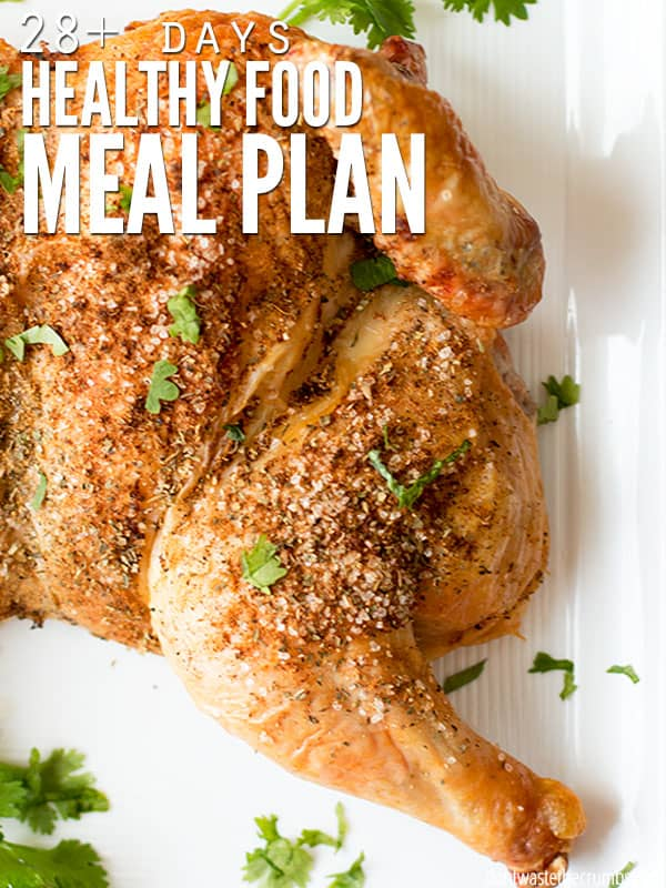 This is my favorite healthy food meal plan - it has a whole month of clean eating meal ideas that my family loves. Plus they're cheap! Starting with this plan each month has done wonders for my grocery budget. :: DontWastetheCrumbs.com