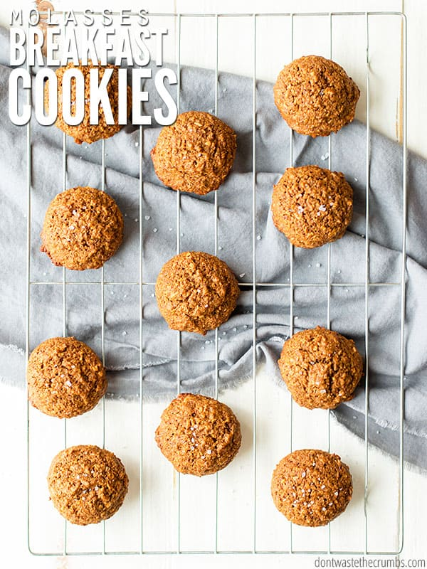 My kids love molasses breakfast cookies because hello - cookies! I love that they're whole grain without processed sugar, and they're packed with healthy ingredients like flaxseed and coconut oil! :: DontWastetheCrumbs.com