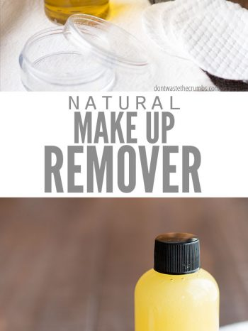 "Two images with bottles of natural makeup remover and cotton rounds. Text overlay says, ""Natural Make Up Remover""."