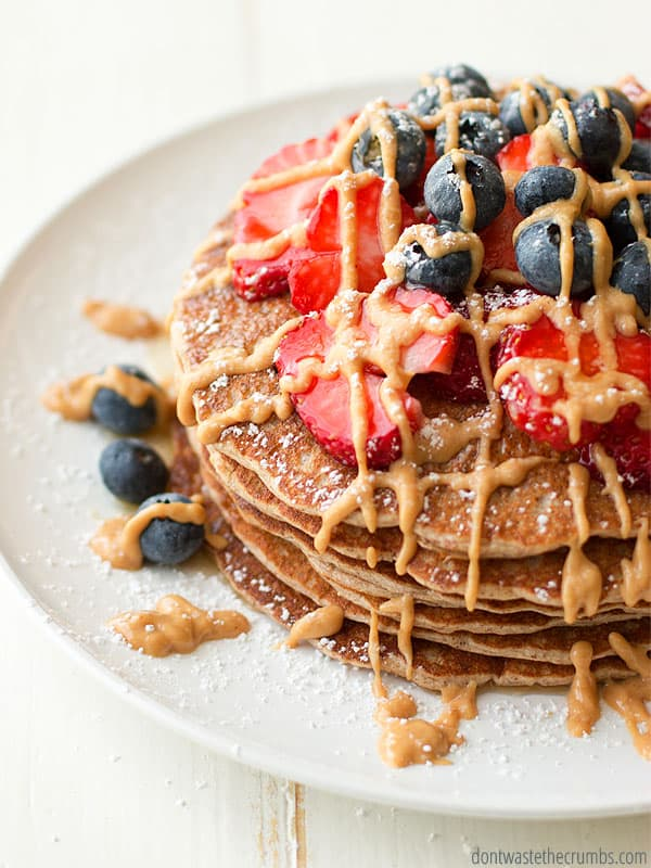 Protein pancakes are a Saturday morning staple. They're super healthy, super tasty and easy to make in the blender! :: DontWastetheCrumbs.com