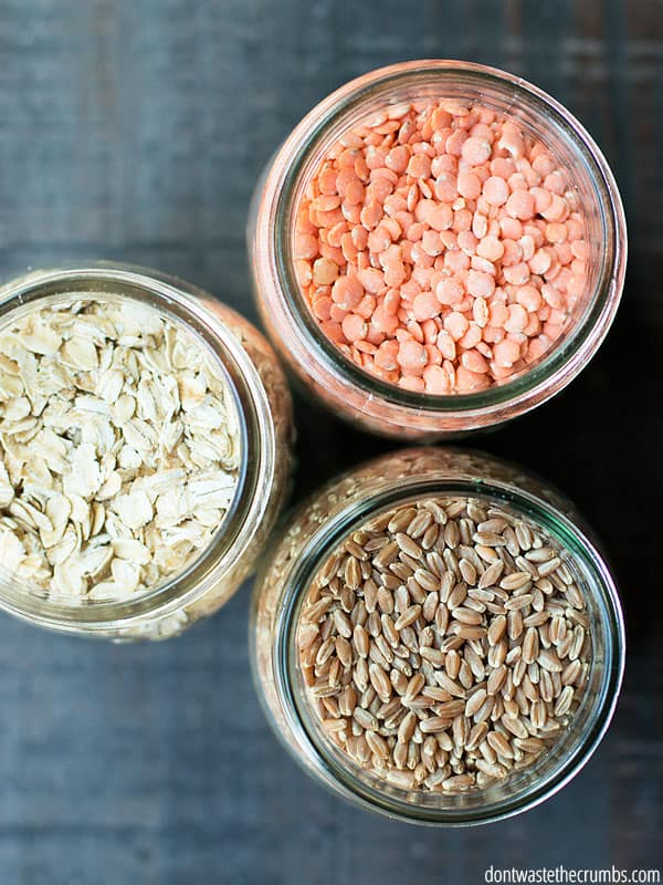 how to buy in bulk without hurting your grocery budget. Things like lentils, oatmeal, and rice and grains