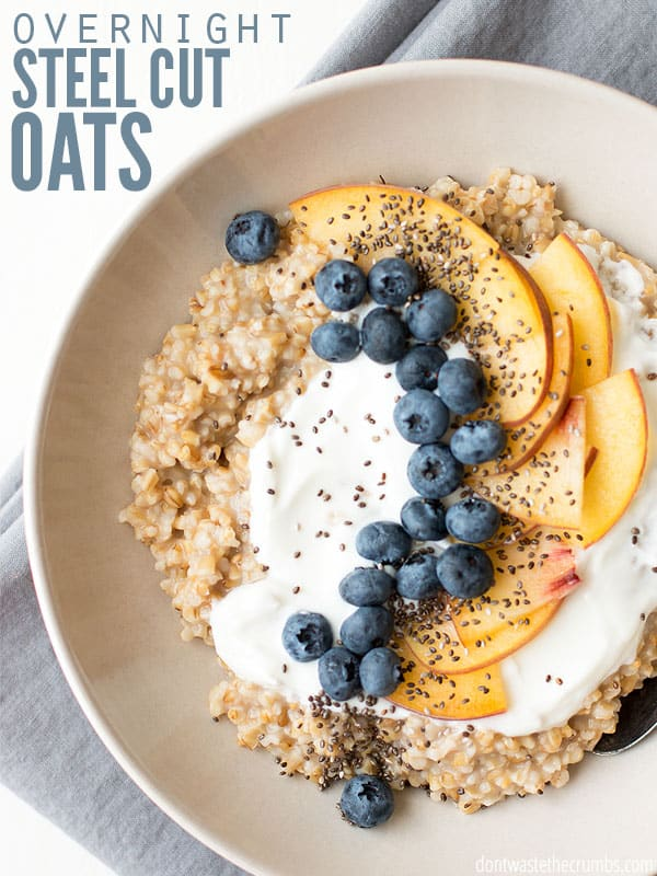 Overnight steel cut oats made perfect without a slow cooker. After toasting the oats first for better flavor, they sit overnight and then it's all about the toppings! :: DontWastetheCrumbs.com