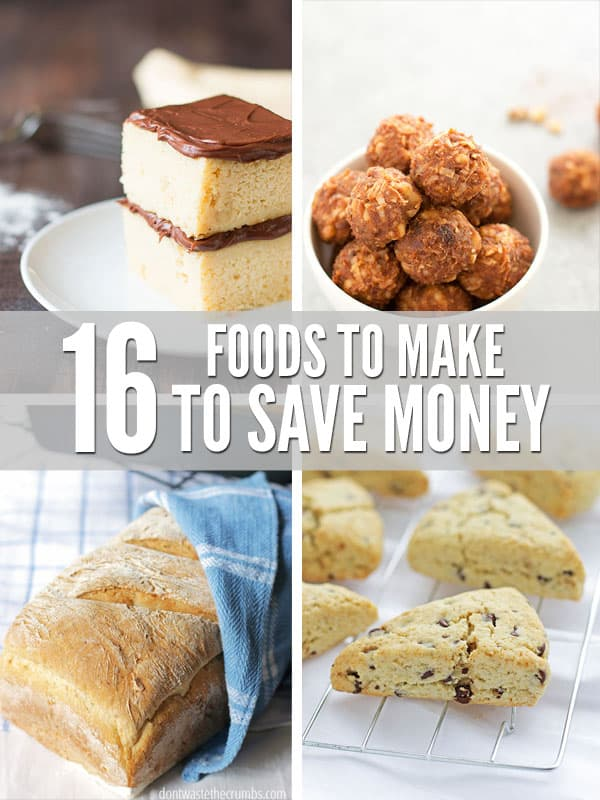 Slash your grocery budget with a list of 16 foods to make from scratch, including links to recipes and a price break down. Saving money just got a whole lot easier!