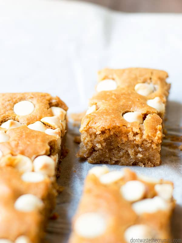 If you're trying to help your family eat more real food, look no further than this white bean blondie recipe! Full of real food ingredients and even more delicious than it's junky counterpart, white bean blondies are the best!