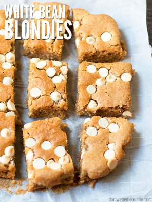 "Blondies cut into squares with text overlay, ""White Bean Blondies""."