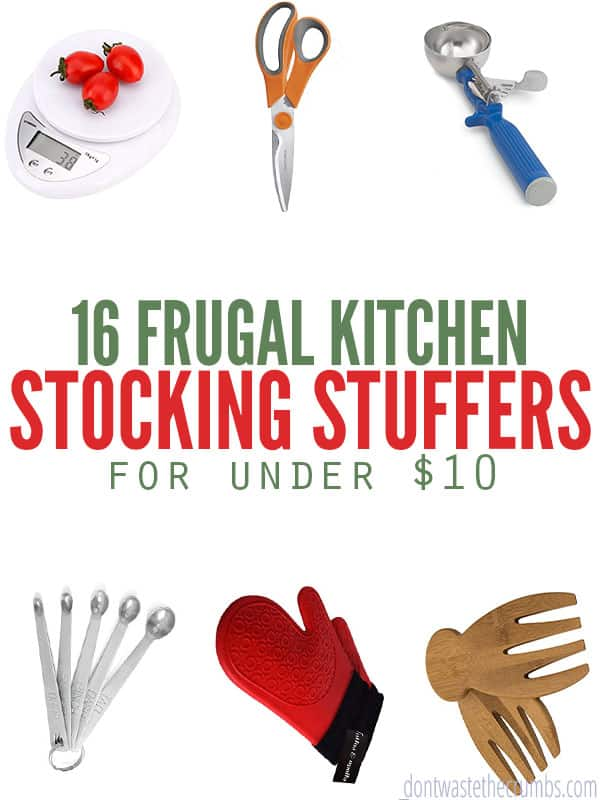 Great stocking stuffer ideas for the kitchen or home chef. Practical ideas for under $10, cute ways to gift them and ideas for affordable bigger gifts too. :: DontWastetheCrumbs.com