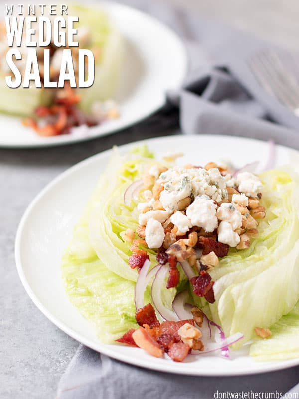 A perfect wedge salad for cooler temperatures. Topped with bacon, blue cheese and an incredible maple glaze - the perfect light meal escape from stews. :: DontWastetheCrumbs.com