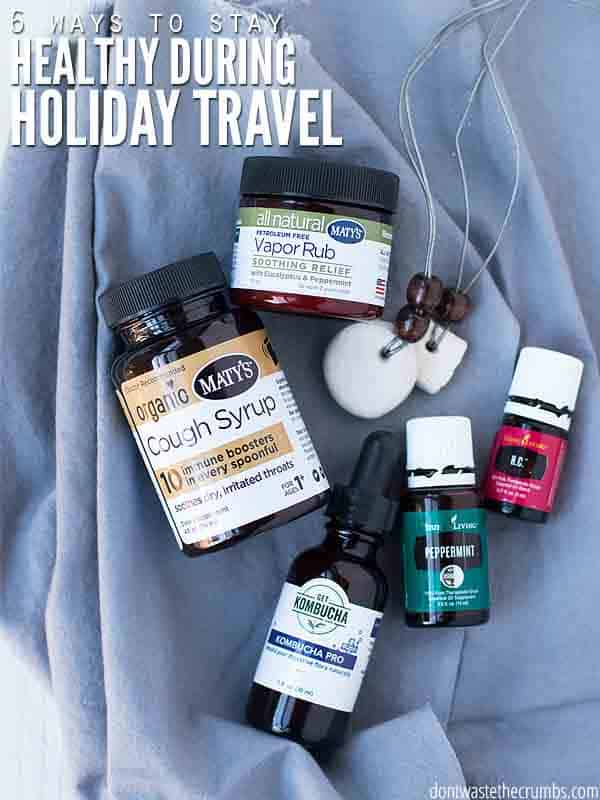We pack two main items to stay healthy during holiday travel, essential oils & natural medicines, and use these other home remedies to stay healthy while on the road! :: DontWastetheCrumbs.com