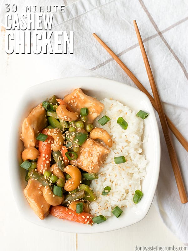 We make this cashew chicken recipe almost every week. It's super fast, super easy and the kids love it. Be sure to make extras because leftovers are great! :: DontWastetheCrumbs.com
