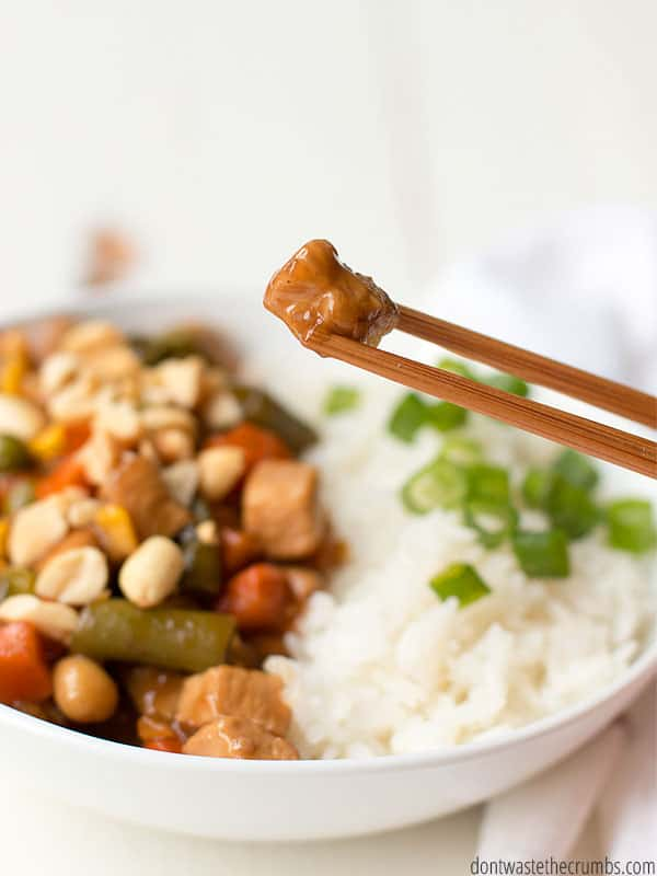 This better than take-out kung pao chicken is your newest go to recipe. Made with real food ingredients you already have at home, you can make this meal in 15 minutes!