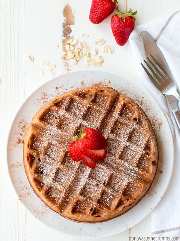 Looking for a gluten-free waffle recipe? My family's new favorite is made with oatmeal and no milk!