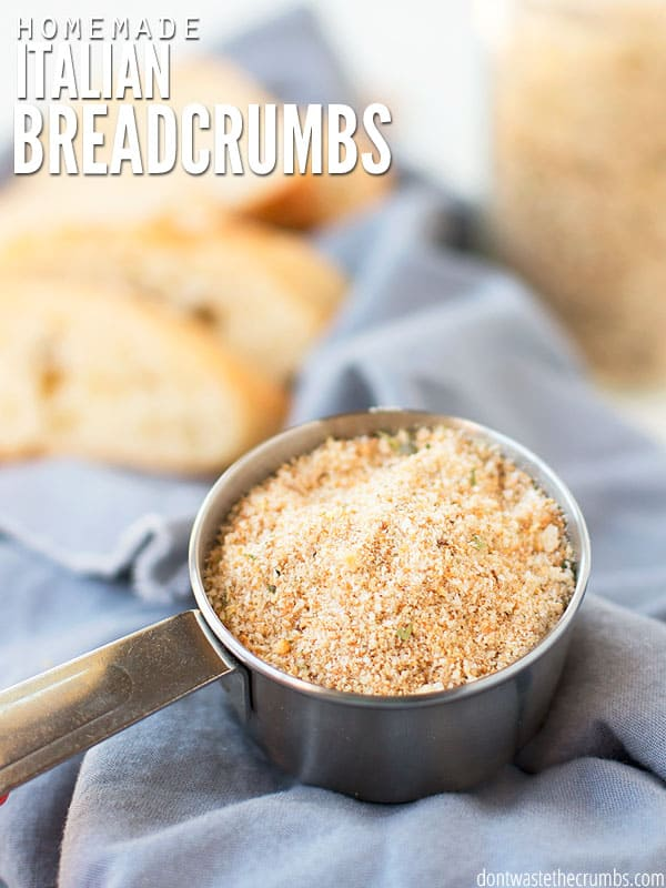 Use homemade Italian style breadcrumbs instead of Progresso seasoned bread crumbs from Walmart. Perfect in your favorite chicken or pork chop recipe! :: dontwastethecrumbs.com