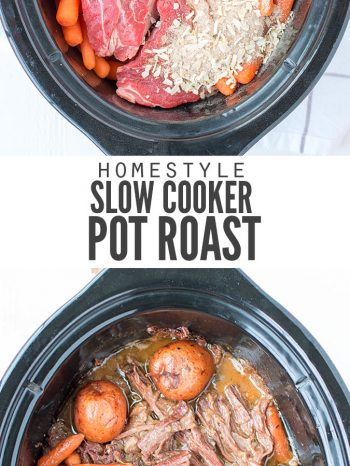 "Slow cooker with veggies and a roast with text overlay ""Homestyle Slow Cooker Pot Roast""."