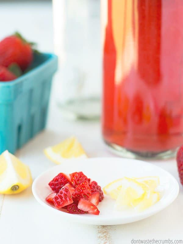 Try this naturally sweetened strawberry lemonade kombucha! It's so easy and so delicious. Perfect for summer!