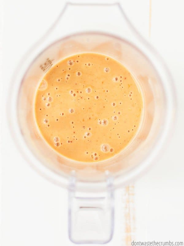 Blender filled with blended magic thai peanut sauce.
