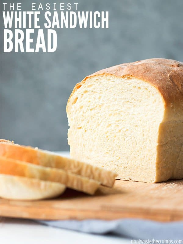 This homemade white sandwich bread recipe is easy and the inside is so fluffy! It's quick to make, and doesn't require a machine. My picky eaters love it! :: DontWastetheCrumbs.com