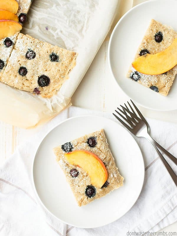 When mornings are short and breakfast time even shorter, this sheet pan pancake recipe will save the day! Call it a Busy Mom's Cooking Hack.