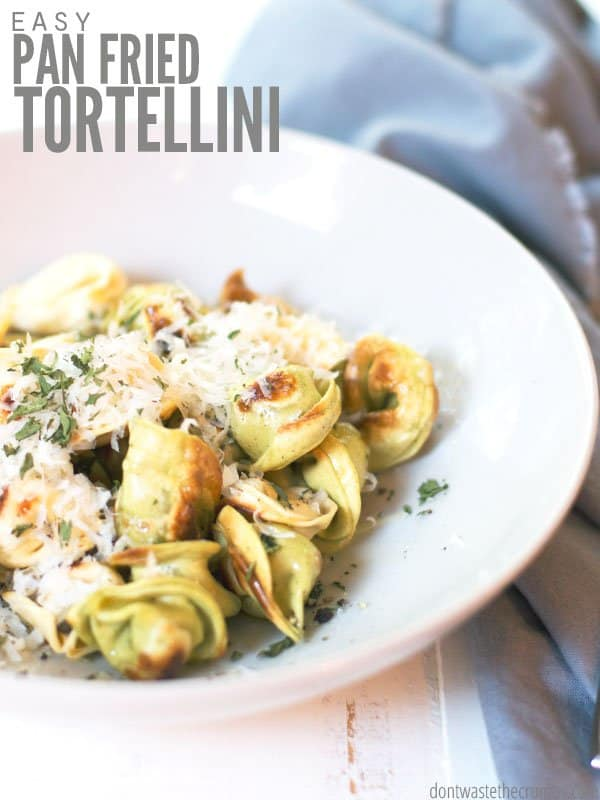 Pan fried tortellini is crispy and makes for a quick weeknight dinner. We've tried homemade pan fried ravioli without breadcrumbs, and it's delicious too! :: DontWastetheCrumbs.com