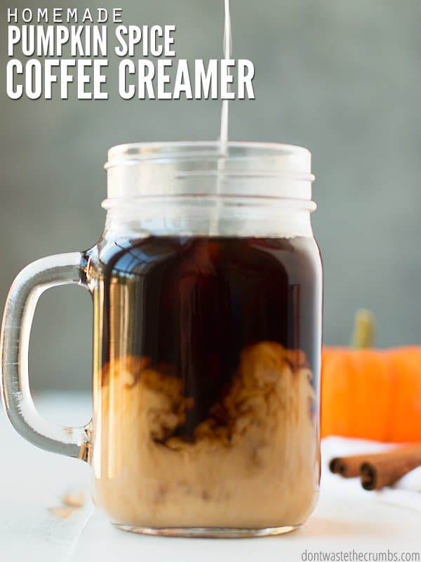 This homemade pumpkin coffee creamer is so easy, it can be made year round. It is perfect for fall mornings!