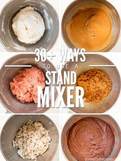 Over 30 creative ways to use a KitchenAid mixer, with healthy recipes for dinner, desserts, savory bread, & more! Make time & effort in the kitchen easy! :: DontWastetheCrumbs.com
