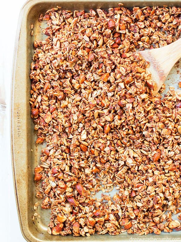 This cinnamon granola recipe uses only real food ingredients and tastes absolutely amazing. You can ditch the boxed cereal and go with this homemade one instead!