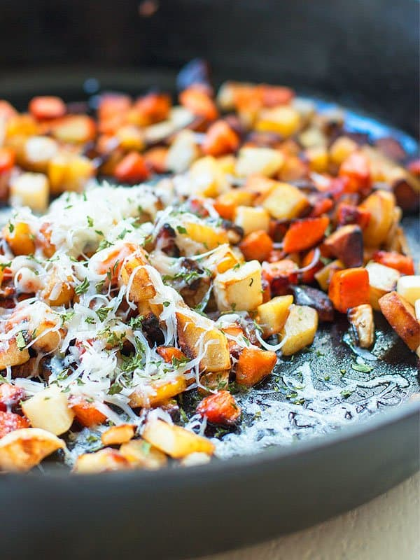 Magic happens when you start with butter and end with parmesan. And that's no lie when it comes to this root vegetable saute! It's absolutely amazing. And my picky husband approves!