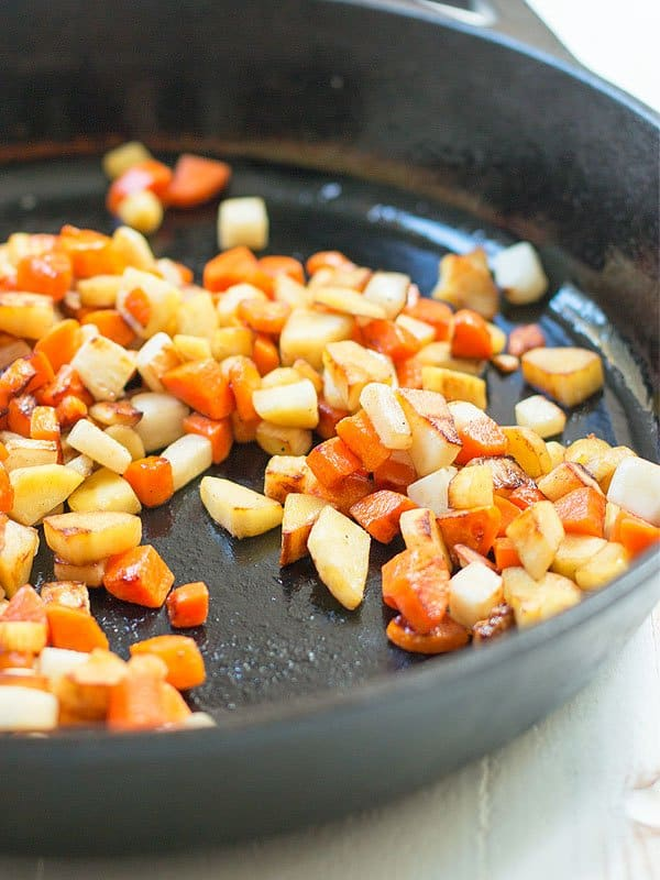 Root vegetable saute is an easy go to side dish. You can make it in a skillet, pot, or mashed up and you get a delicious dish every time.