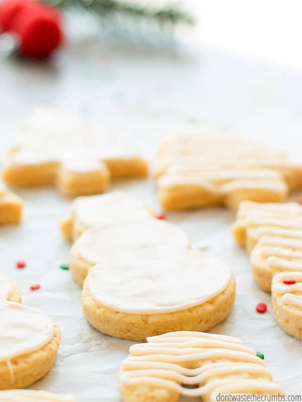Delicious and simple sugar cookie recipe! For a healthier cookie this year, use this recipe with less sugar and a slightly sweet icing. You won't feel guilty eating these for lunch!