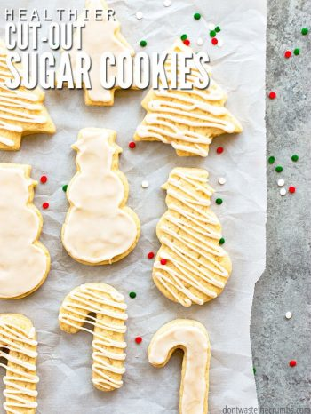 This sugar cookie recipe makes soft & chewy cut out cookies that keep their shape and are healthier than most. Plus a simple icing that's just sweet enough! :: DontWastetheCrumbs.com