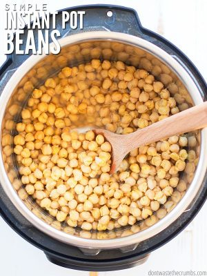 Overview of an Instant Pot, filled with a soaking beans. Text overlay Simple Instant Pot Beans.