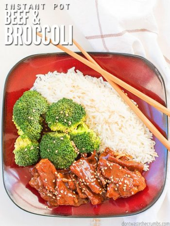 Square dish filled with white rice, broccoli and cooked marinated beef. A pair of chopsticks sit along the edge of the bowl. Text overlay Instant Pot Beef & Broccoli.