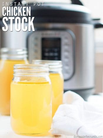Mason jars filled with golden chicken bone broth with an Instant Pot in the background. Text overlay Simple Instant Chicken Stock.