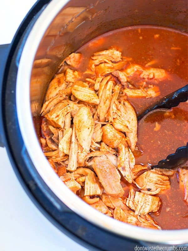 Instant Pot BBQ chicken is a perfect weeknight meal! Shredded barbecue chicken is easy, quick, and delicious.