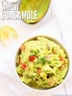 Learn how to make this easy, healthy, & authentic guacamole recipe. Keep it super simple or add sour cream, salsa, or chipotle peppers for more flavor. :: DontWastetheCrumbs.com