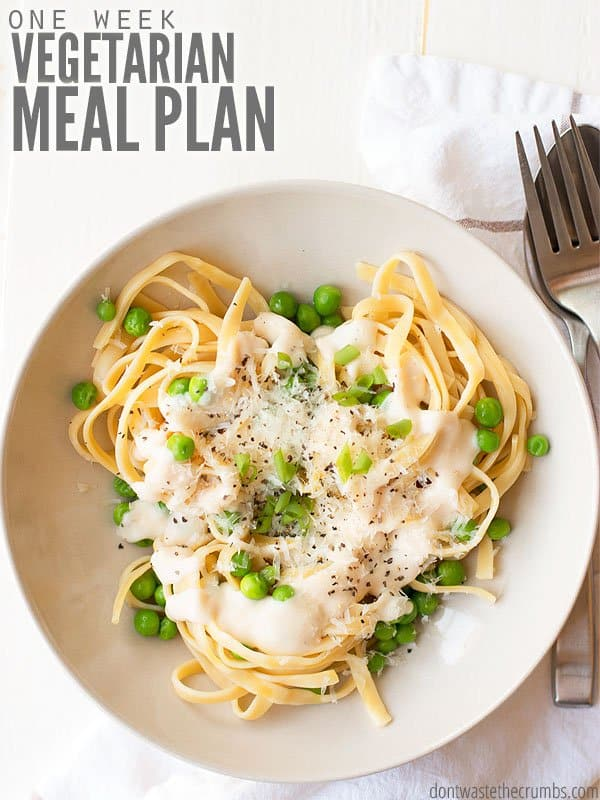 A full week of quick, easy and healthy vegetarian dinner recipes. A full vegetarian meal plan including main dishes for both beginners and advanced cooks. Lots of flavor going on, you won't even miss the meat! :: DontWastethecrumbs.com