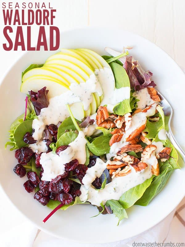 This dinner salad recipe is super easy, super healthy and comes together really fast. It's great for a side salad, or a main dish, and everyone at our dinner party loved it! Perfect for year round, and change the toppings based on what you have in the pantry and fridge! :: DontWastetheCrumbs.com