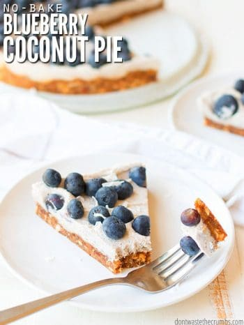 Round white serving dish with a slice of blueberry coconut pie. A fork stis with bite ready to eat. Text overlay No Bake Blueberry Coconut Pie.
