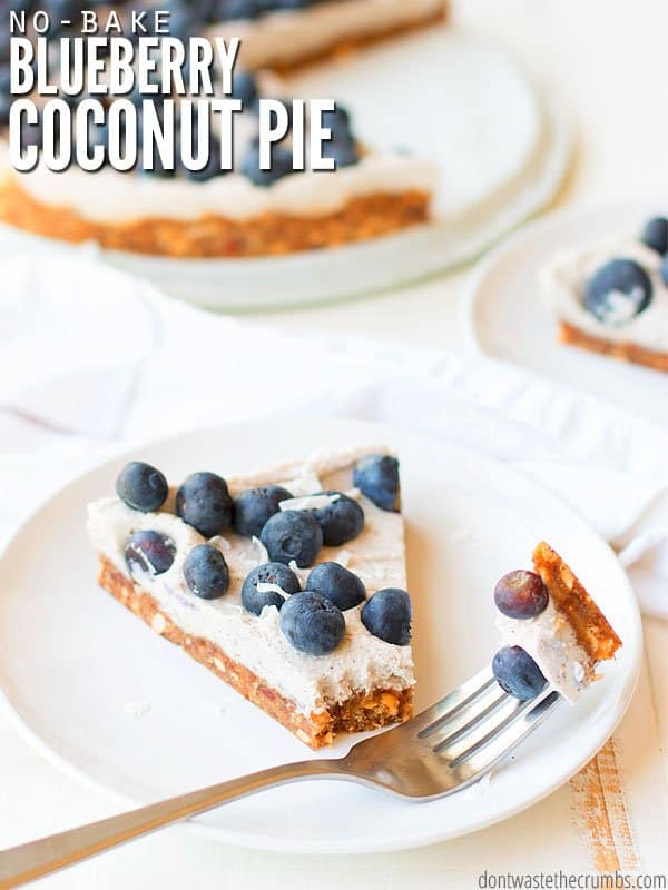 Super easy no-bake coconut blueberry pie recipe that's Whole30 compliant - dairy-free, gluten-free and sugar-free. This simple dessert consists of an almond date crust, whipped coconut cream filling and fresh blueberries - that's it! Adding pineapple would make a blue Hawaiian pie too! :: DontWastetheCrumbs.com