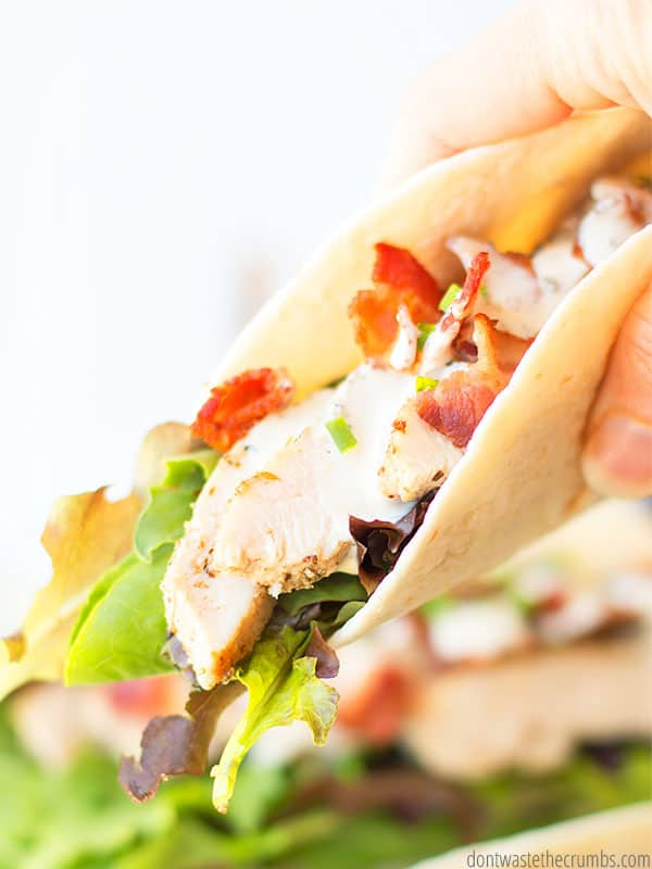 These bacon chicken ceasar salad wraps are the bomb! Great with shredded or grilled chicken. Made from scratch and no pesky strange ingredients!